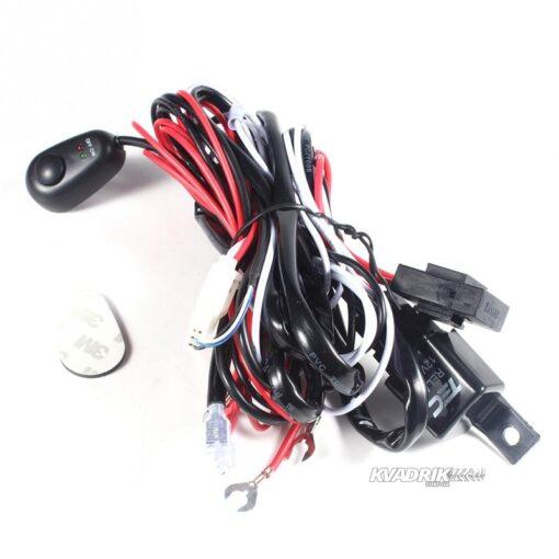 Комплект проводки, переключателя, реле и предохранителя для подключения LED прожекторов, дополнительных фар на квадроцикле, багги или внедорожнике