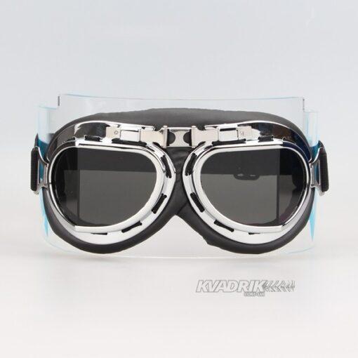 """Очки """"Ретро"""" с серебристой оправой, стекла тонированые"""