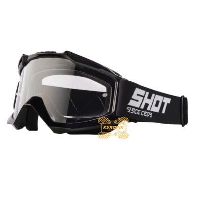 Очки SHOT RACING ASSAULT SOLID цвет черный, линза прозрачная ANTI-SCRATCH   A0D-29A1-A01