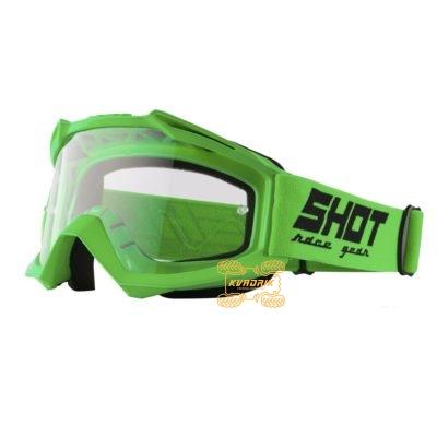 Очки SHOT RACING ASSAULT SOLID цвет зеленый, линза прозрачная ANTI-SCRATCH   A0D-29A1-A07