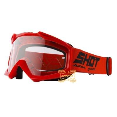 Очки SHOT RACING ASSAULT SOLID цвет красный, линза прозрачная ANTI-SCRATCH   A0D-29A1-A04