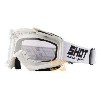 Очки SHOT RACING ASSAULT SOLID цвет белый, линза прозрачная ANTI-SCRATCH   A0D-29A1-A02