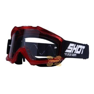 Очки SHOT RACING ASSAULT TRANSPARENT цвет вишневый, линза прозрачная ANTI-SCRATCH   A0D-29A1-A09