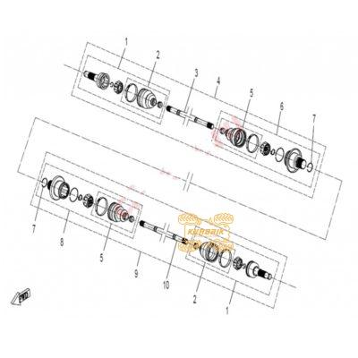 Оригинальный кулак внутренний задний правый для квадроцикла CFMoto 500 600 9010-280230-1000