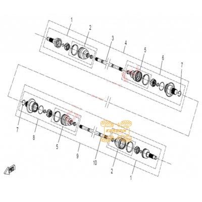 Оригинальный кулак внутренний задний левый для квадроциклов CFMoto 500 600 9010-280130-1000