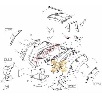 Оригинальный расширитель арки задний правый для квадроцикла CFMoto X5 9050-040019