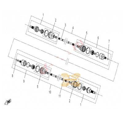 Оригинальный кулак внутренний передний правый для квадроцикла CFMoto 500 600 9010-270230-1000