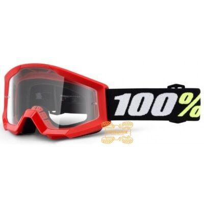 Детские очки 100% STRATA MINI Red цвет красный, линза прозрачная с анти-фогом 50600-003-02