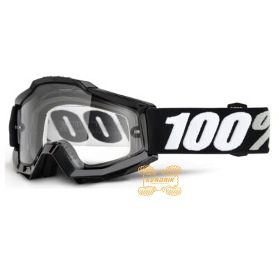 Очки 100% Accuri ENDURO Goggle Tornado - Clear Dual Lens цвет черный, линза прозрачная с анти-фогом 50202-059-02