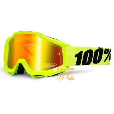 Очки 100% Accuri Goggle Fluo Yellow - Mirror Gold Lens цвет желтый, линза тонированная с анти-фогом 50210-004-02