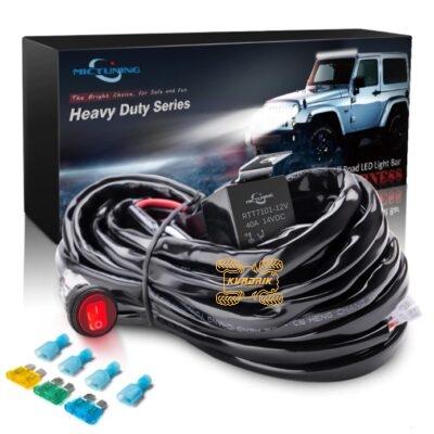 Комплект проводки MICTUNING для подключения LED фар мощностью до 300W на квадроцикле, багги или внедорожнике (переключатель, реле, предохранители, проводка)