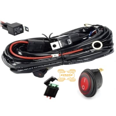 Комплект проводки X-ATV для подключения LED фар мощностью до 300W на квадроцикле, багги или внедорожнике (переключатель, реле, предохранители, проводка) L-02