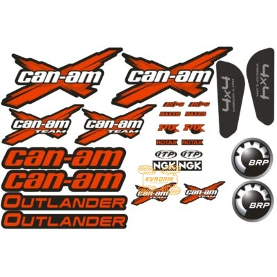 Комплект наклеек X-ATV для квадроцикла Can Am Outlander цвет красный STI-CAN-OUT-328