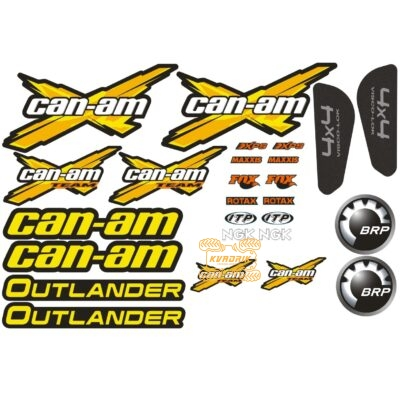 Комплект наклеек X-ATV для квадроцикла Can Am Outlander цвет желтый STI-CAN-OUT-327